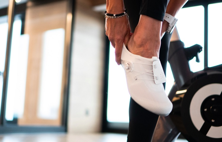 white spinning shoes